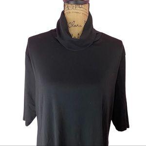 Ava & Viv Black Elbow Sleeve Turtleneck Plus 3X